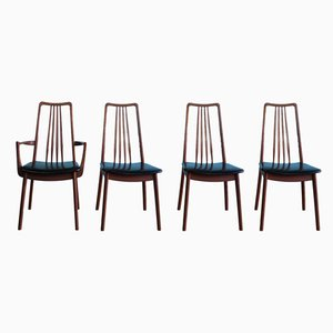 Teak and Black Vinyl Dining Chairs by Anders Hansen for Möbelfabrik Holstebro, 1960s, Set of 4