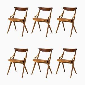 Esszimmerstühle aus Teak von Arne Hovmand-Olsen, 1950er, 6er Set