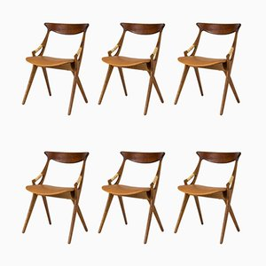 Teak Dining Chairs by Arne Hovmand-Olsen, 1950s, Set of 6