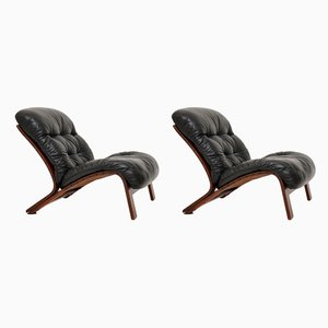 Norwegian Rosewood and Leather Lounge Chairs by Oddvin Rykken for Rybo Rykken & Co, 1960s, Set of 2