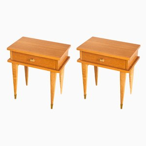 French Oak Nightstands, 1960s, Set of 2
