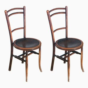Spanish Beech Bistro Chairs, 1930s, Set of 2