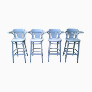 Vintage Wooden Bar Stools, Set of 4