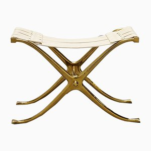 Bronze and Vinyl Stool from Kouloufi, 1950s