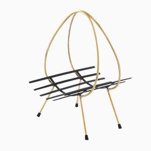 Mid-Century Italian Brass and Enameled Iron Magazine Rack, 1950s