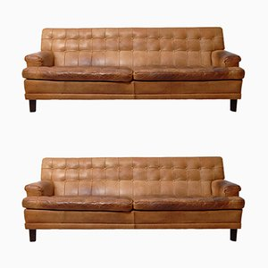 Mid-Century Buffalo Leather Merkur Sofas by Arne Norell for Arne Norell AB, Set of 2