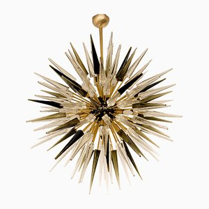 Mid-Century Glass and Brass Sputnik Chandelier from Alberto Donà, 1990s