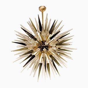 Mid-Century Sputnik Kronleuchter aus Glas & Messing von Alberto Donà, 1990er
