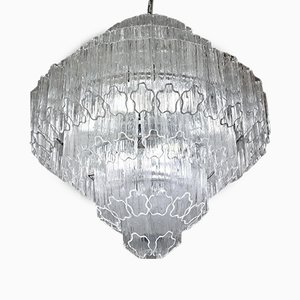 Lámpara de araña Mid-Century de cristal de Murano de Toni Zuccheri para Venini, años 80