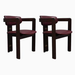 Teak and Leather Armchairs by Tobia & Afra Scarpa for Gavina, 1950s, Set of 2