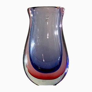 Jarrón Lare Mid-Century de cristal de Murano de Flavio Poli para Seguso, años 60