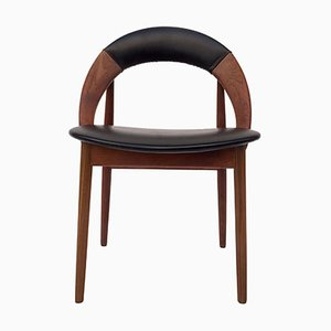 Mid-Century Teak and Leather Desk Chair by Arne Hovmand-Olsen