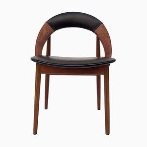 Silla de escritorio Mid-Century de teca y cuero de Arne Hovmand-Olsen