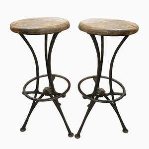 Mid-Century Iron and Wood Stools, Set of 2