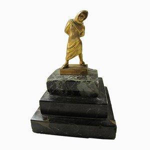 Sculpture en Bronze Doré et Marbre par MERCIER, 1920s