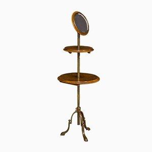 Antiker edwardianischer Rasierständer aus Nussholz mit Spiegel