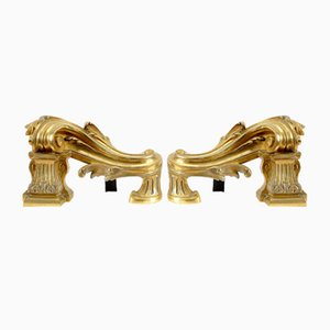 Antique Gilded Bronze Andirons, Set of 2
