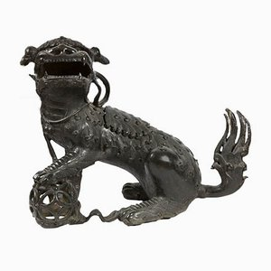 Antique Chinese Bronze Foo Dog Censer Incense Burner