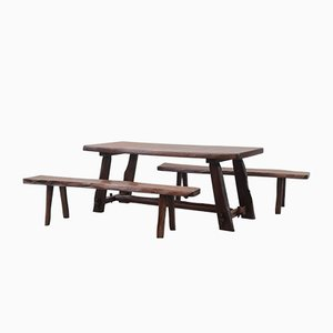 Dining Table & Chairs Set by Olavi Hänninen for Mikko Nupponen, 1950s, Set of 3