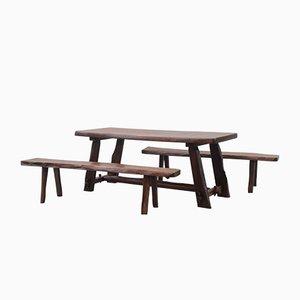 Juego de mesa y sillas de comedor de Olavi Hänninen para Mikko Nupponen, años 50. Juego de 3
