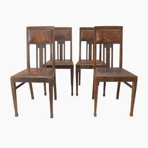Sedie antiche in legno e pelle, set di 4