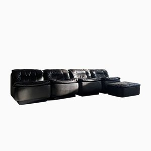 Vintage Black Leather Sofa and Ottoman by Friedrich Hill for Walter Knoll / Wilhelm Knoll, 1972