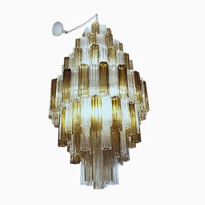 Clear and Taupe Murano Glass Chandelier, 1980s