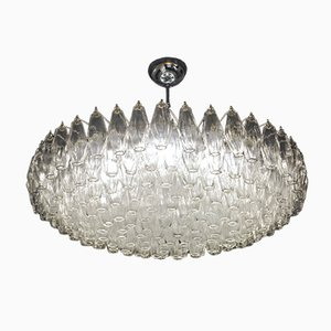 Clear Murano Glass Poliedri Chandelier, 1980s