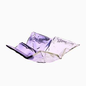Centro de mesa modelo S502 de cristal de Murano transparente y violeta de Carlo Nason para Mazzega, años 70