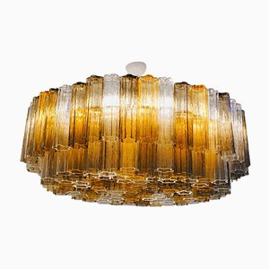 2-Tiered Murano Glass Chandelier by Toni Zuccheri for Venini, 1980s