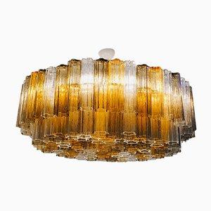 Lámpara de araña de dos pisos de cristal de Murano, años 80