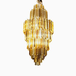 Triedi Murano Clear and Amber Glass Chandelier from Venini, 1980s