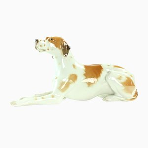 Vintage Porcelain Dog Sculpture from Lomonosov, 1950s