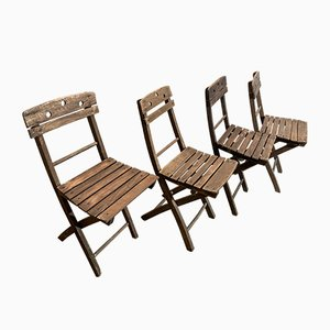 Mid-Century Folding Beach Chairs, Set of 4