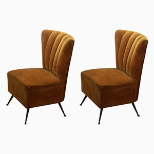 Small Scallop Velvet and Brass Side Chairs, 1950s, Set of 2