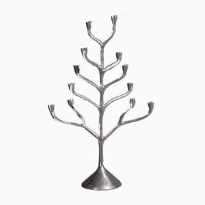 Vintage Silver Colored Metal Candleholder, 1970s