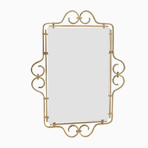 Brass-Framed Beveled Mirror, 1950s