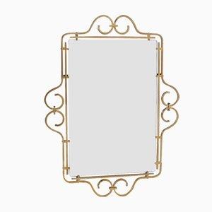 Espejo biselado con marco de latón, años 50