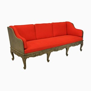 Vintage Swedish Red Fabric and Wooden Daybed, 1920s