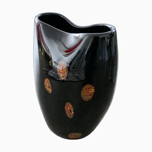 Jarrón italiano vintage de vidrio artístico, años 70