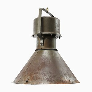 Vintage Industrial Green and Brown Metal Pendant Lamp