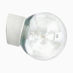 Applique vintage industriale in porcellana bianca e vetro chiaro, anni '50
