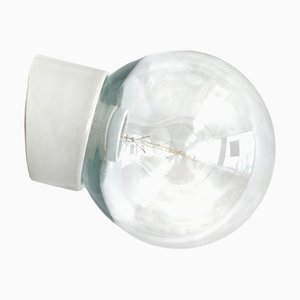 Vintage Industrial White Porcelain and Clear Glass Sconce, 1950s