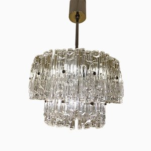 Austrian 2-Tiered Textured Ice Glass Chandelier by J. T. Kalmar, 1950s