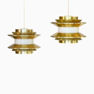 Model Trava Pendant Lamps by Carl Thore / Sigurd Lindkvist for Granhaga Metallindustri, 1970s, Set of 2