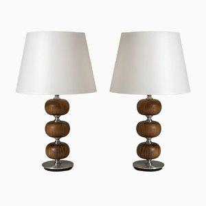 Lámparas de mesa de caoba de Henrik Blomqvist para Tranås Stilarmatur, años 60. Juego de 2