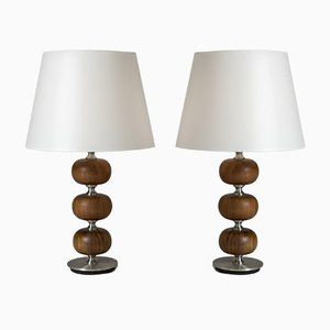 Mahogany Table Lamps by Henrik Blomqvist for Tranås Stilarmatur, 1960s, Set of 2