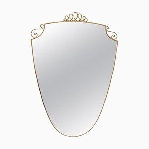 Espejo de pared italiano de latón, años 50