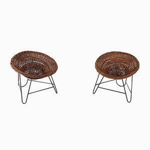 Wicker Basket Lounge Chairs, 1950s, Set of 2