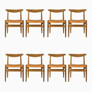 Model W2 Dining Chairs by Hans J. Wegner for C.M. Madsen, 1960s, Set of 8